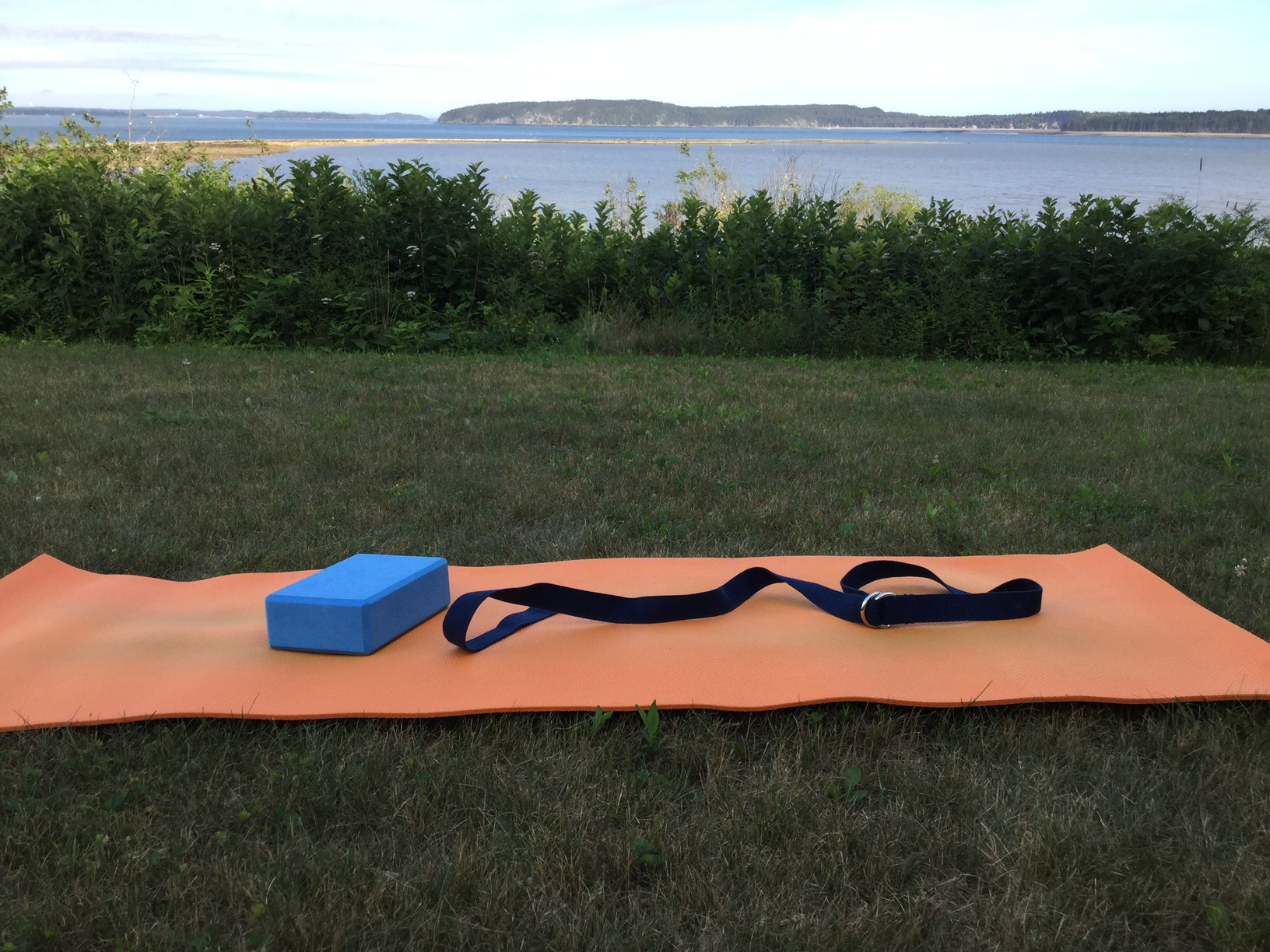 Outdoor yoga on the Maine coast