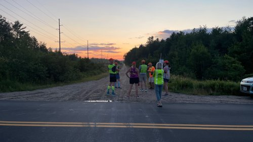 Watching the sun set as we wait for our runners at the exchange for Leg 3.