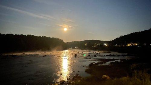 Moon setting over the Machias River.