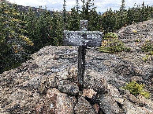Beautifully weatherbeaten summit marker