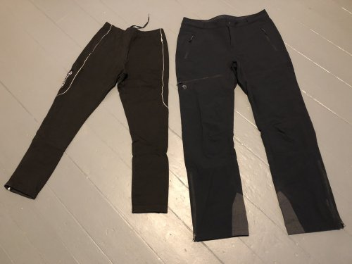 Nordic ski tights and soft-shell pants shed snow better than traditional running tights.