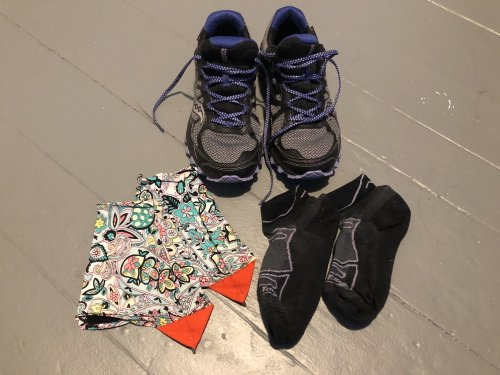 GoreTex runners, light socks and gaiters keep your feet cozy and dry.
