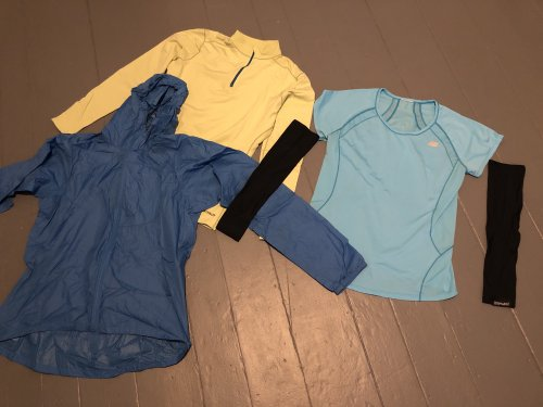Layer your uppers--even consider arm sleeves and a tee on warmer days.