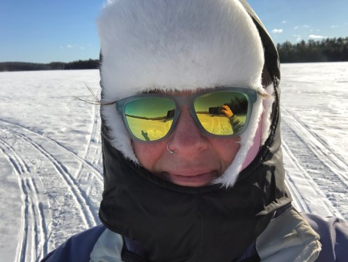 It's 14-below in this photo and my mask is quilted for better insulation. My glasses aren't fogging because I treated the lenses before heading out onto the lake.
