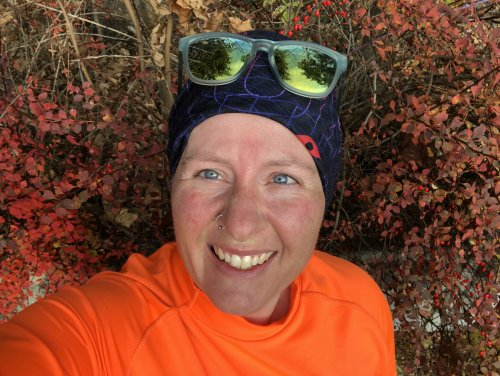 Decked out in blaze orange for my morning run. Even though I did road miles this particular morning, I was in a rural area and wore my safety gear.
