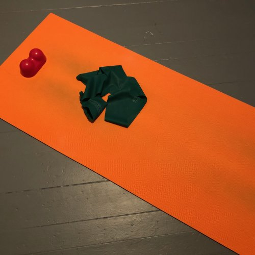 My yoga mat, theraband and stillpoint inducer. Skipping rehab is a waste of time.